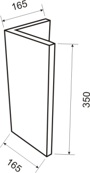 Угловой элемент 20х165х165 - чертёж